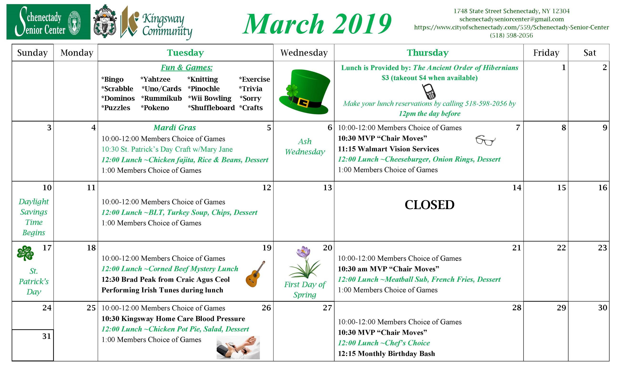 Schenectady Senior Center March 2019 Newsletter